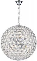 Dar Fiesta Medium Modern 8 Light Crystal Globe Pendant Chrome