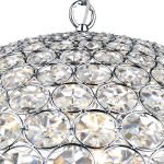 Dar Fiesta Small Modern 5 Light Crystal Globe Pendant Chrome