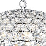 Dar Fiesta Medium Modern 8 Light Crystal Globe Pendant Chrome