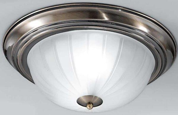 Traditional Bronze Flush Acid Glass 2 Light Fitting