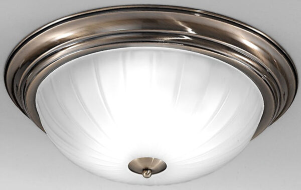 Traditional Bronze Flush Acid Glass 3 Light Fitting
