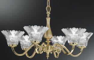 Franklite Castilla Cast Brass 6 Light Chandelier Crystal Petal Shades