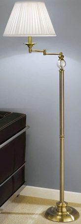 Bronze Swing Arm Floor Lamp Standard And Cream Shade
