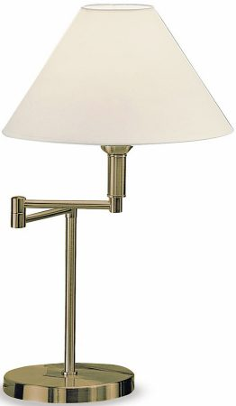 Bronze Swing Arm Table Lamp And Cream Shade