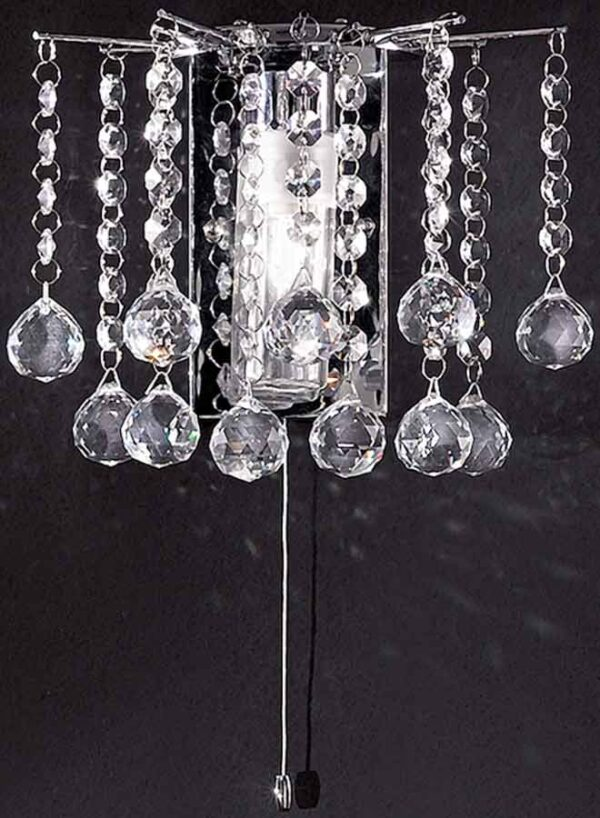 Quality 1 Lamp Switched Crystal Bathroom Wall Light Chrome IP44