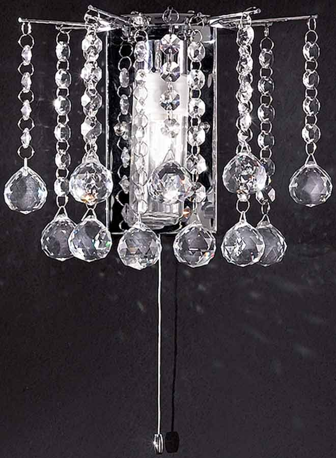 Crystal Wall Lights Switched : Chrome Bathroom Crystal Switched Wall Light FL2139/1