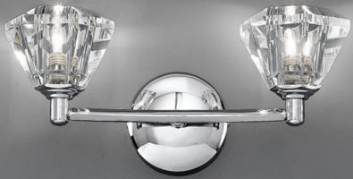 Twista 2 Lamp Chrome And Crystal Glass Wall Light
