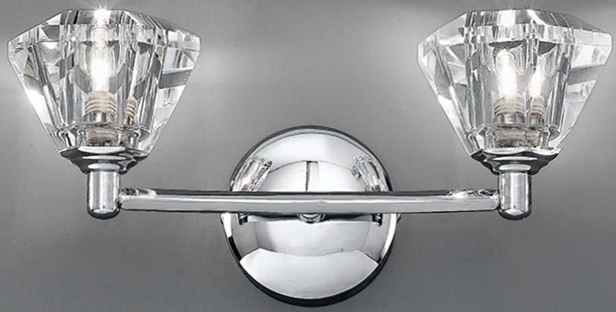 Franklite FL2162/2 Twista twin wall light in polished chrome with crystal glass shades