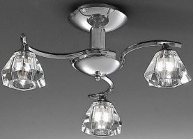 Twista Modern Chrome 3 Light Semi Flush Fitting