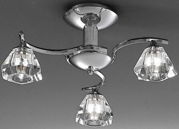 Franklite Twista 3 Light Semi Flush Ceiling Light Polished Chrome Crystal Glass