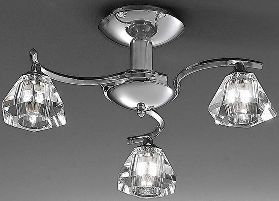 Franklite 2162/3 Twista 3 light semi flush ceiling light in polished chrome with crystal glass shades