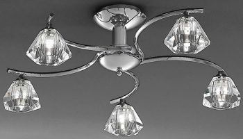 Twista Modern Chrome 5 Light Semi Flush Fitting