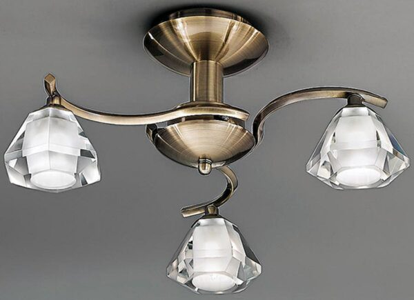 Franklite FL2163/3 Twista 3 light semi flush ceiling light in soft bronze with crystal glass shades