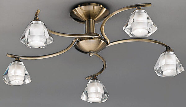 Franklite FL2165/5 Twista 5 light semi flush ceiling light in soft bronze with crystal glass shades