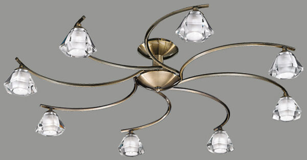 Twista Modern Bronze 8 Light Semi Flush Fitting