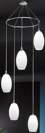 Franklite Modern 5 Light Multi Level Opaque Glass Pendant
