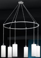 Franklite Modern Opal Glass 6 Light Ceiling Pendant