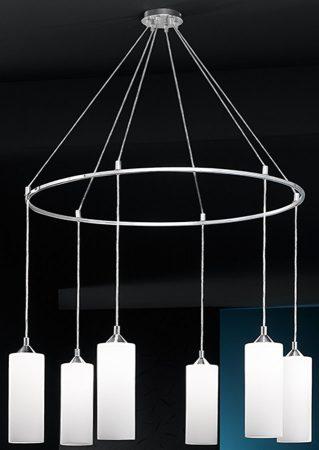 Franklite Modern Opal Glass 6 Light Ceiling Pendant