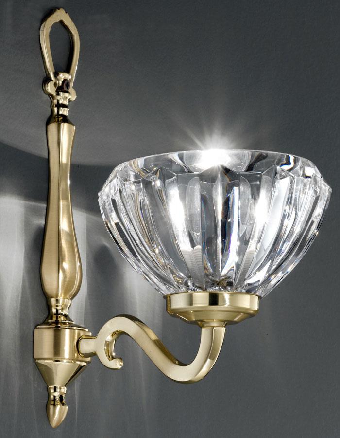 Brass Single Wall Lights : Franklite Castilla Cast Brass Single Wall Light Ribbed Crystal Shade FL2229/1/430