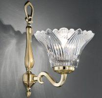 Franklite Castilla Cast Brass Single Wall Light Crystal Petal Shade