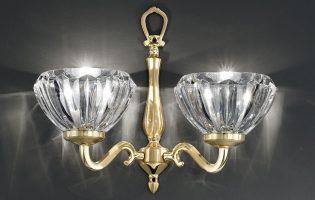 Franklite Castilla Cast Brass Twin Wall Light Ribbed Crystal Shades