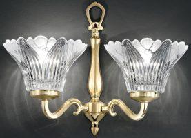 Franklite Castilla Cast Brass Twin Wall Light Crystal Petal Shades