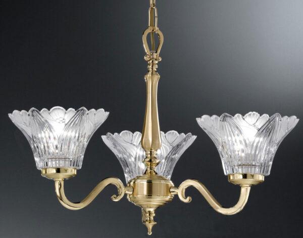 Franklite Castilla Cast Brass 3 Light Chandelier Crystal Petal Shades