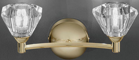 Twista 2 Lamp Polished Brass And Crystal Glass Wall Light