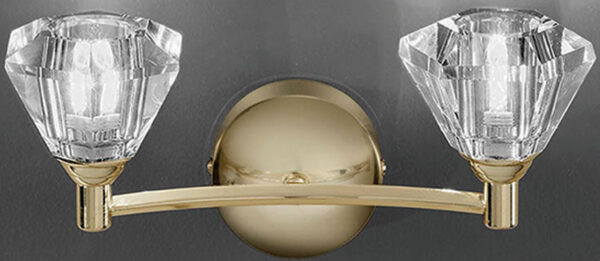 Franklite FL2230/2 Twista twin wall light in polished brass with crystal glass shades