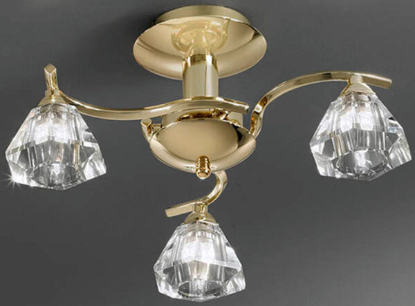 Franklite FL2230/3 Twista 3 light semi flush ceiling light in polished brass with crystal glass shades