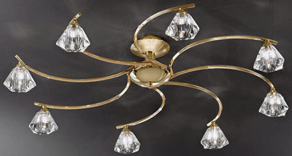 Franklite Twista 8 Light Semi Flush Ceiling Light Polished Brass Crystal Glass