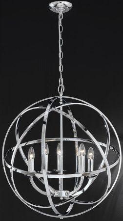 Franklite Zany 5 Light Globe Ceiling Pendant Polished Chrome