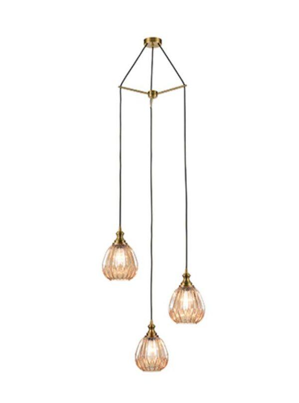 Bronze 3 Light Spreader Pendant 18cm Ribbed Amber Glass Shades