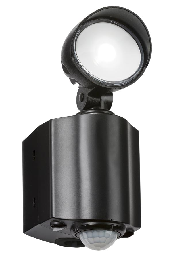 Outdoor wall security spot light 1 x 8w Cree LED and PIR in black