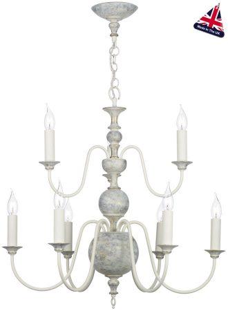 David Hunt Flemish Style 9 Light Distressed Grey Chandelier