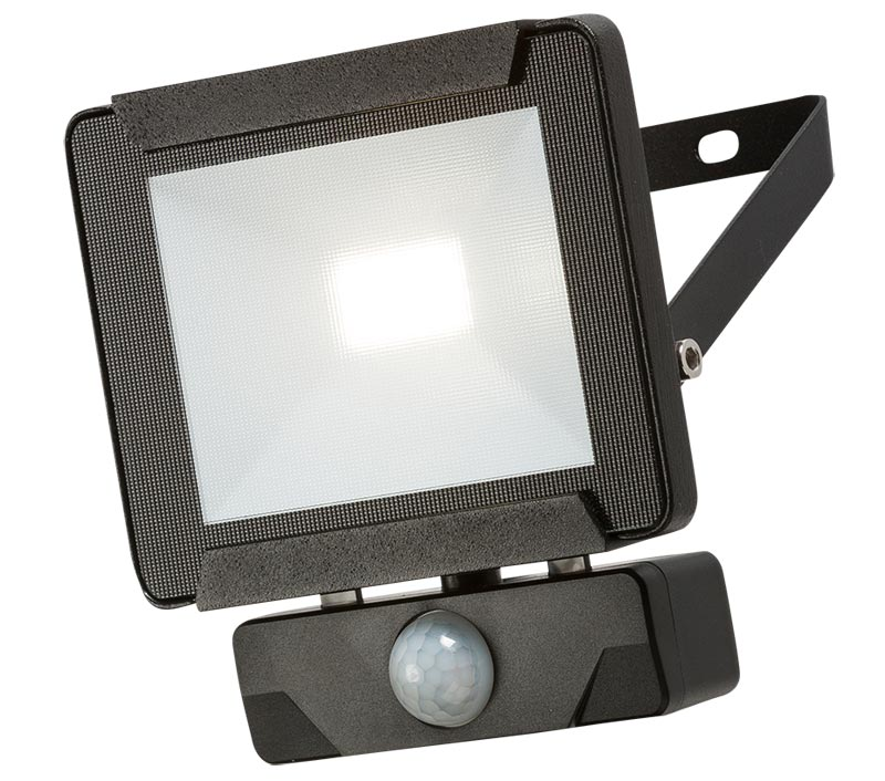 Black 10w LED outdoor security PIR floodlight manual override IP65