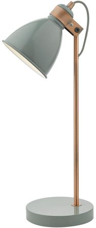 Dar Frederick Gloss Grey Retro Desk Lamp With Copper Detail