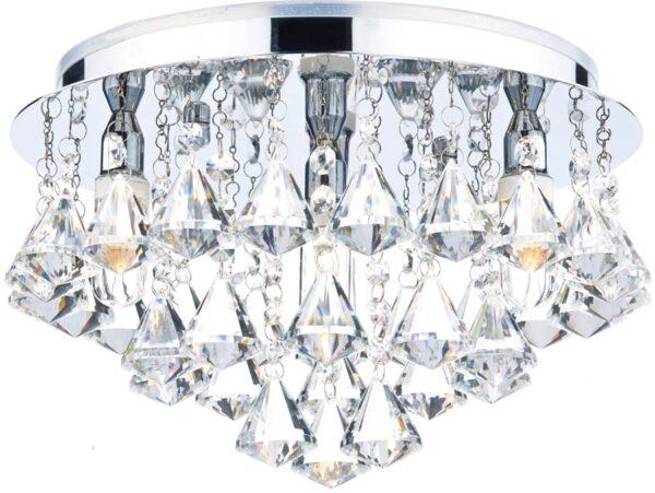 Dar Fringe Flush 4 Lamp Crystal Bathroom Ceiling Light