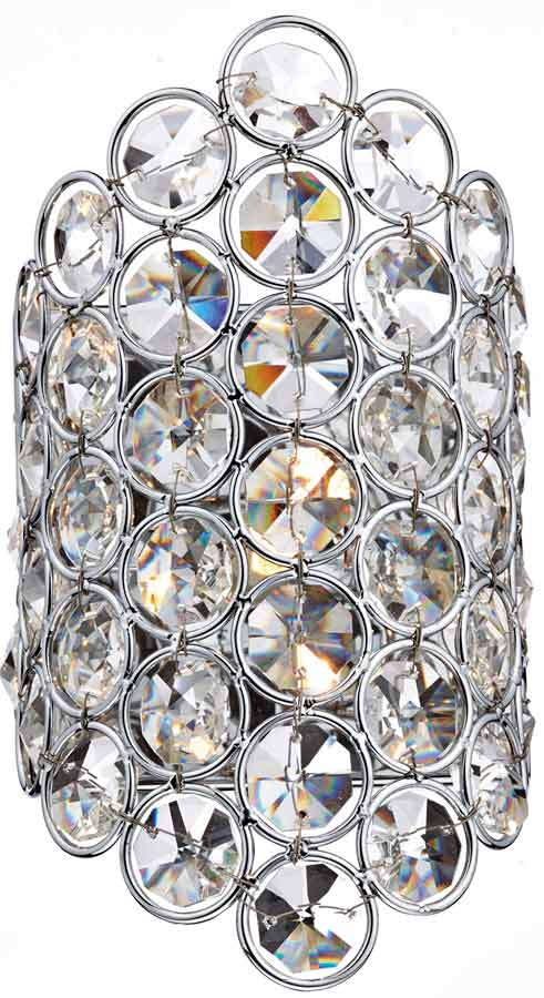 Dar Frost Modern Switched Single Crystal Wall Light Chrome