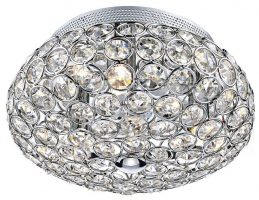 Dar Frost Small 3 Lamp Flush Crystal Ceiling Light Chrome