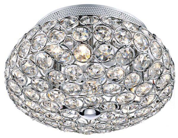 Dar Frost Small 3 Lamp Flush Crystal Ceiling Light Chrome