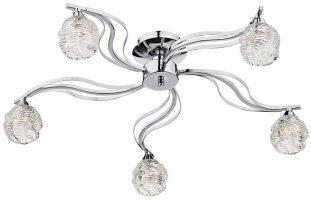 Dar Fuego Modern 5 Lamp Semi Flush Ceiling Light Chrome
