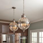 Feiss Adams Pendant Chandelier 3 Light Globe Lantern Antique Nickel