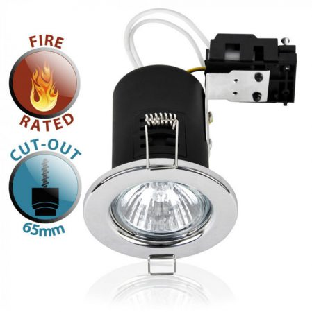 Polished Chrome 90 Min Fire Rated GU10 Recessed Downlight