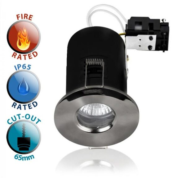 Fire Rated IP65 Bathroom GU10 Recessed Downlight Black Chrome