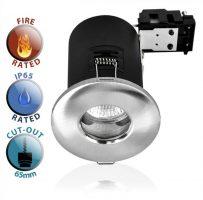 Fire Rated IP65 Bathroom GU10 Recessed Downlight Satin Nickel