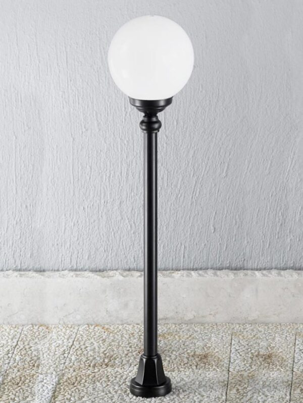 Victorian Style 1 Light Outdoor Half Lamp Post Black Opal Globe IP43