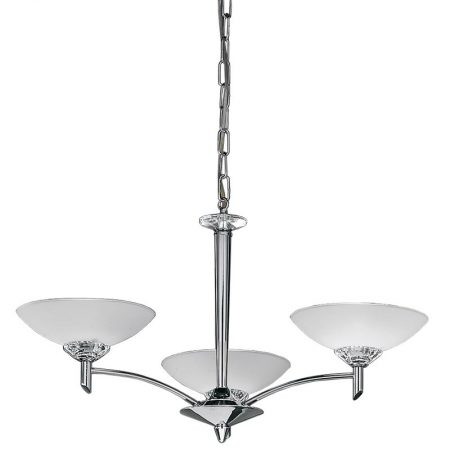 Franklite Fizz Polished Chrome 3 Light Chandelier Satin Opal Glass