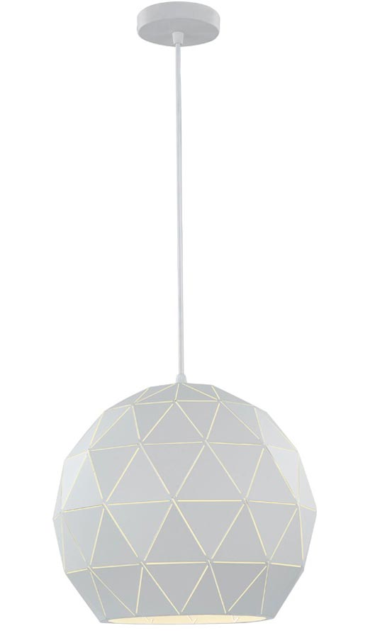 Contemporary 1 Light Large Geometric Ceiling Pendant White
