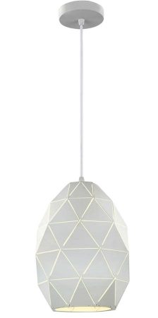 Franklite Tangent 1 Light Oval Pendant Ceiling Light White